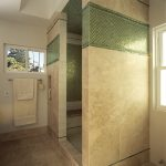 Travertine and Glass Tile Bathroom