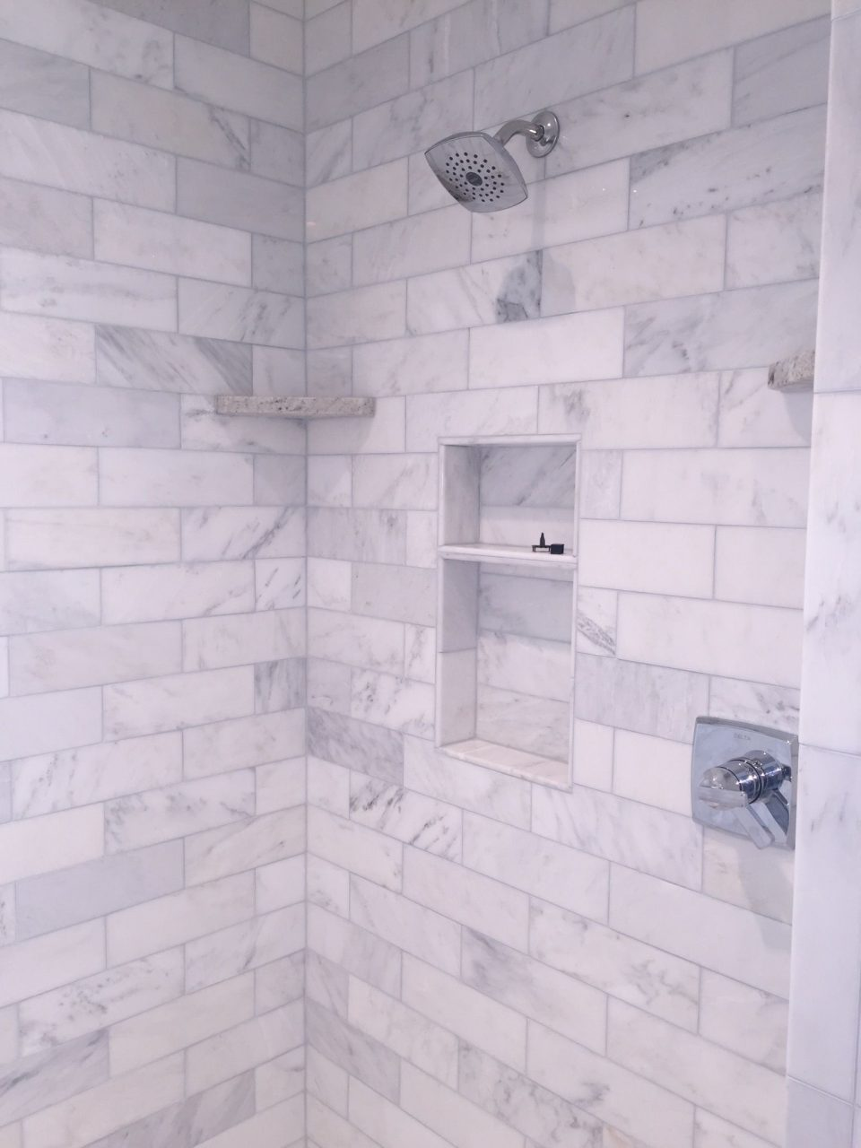 Our Shower In The Master Bathlove It 4x12 Marble Subway Tile