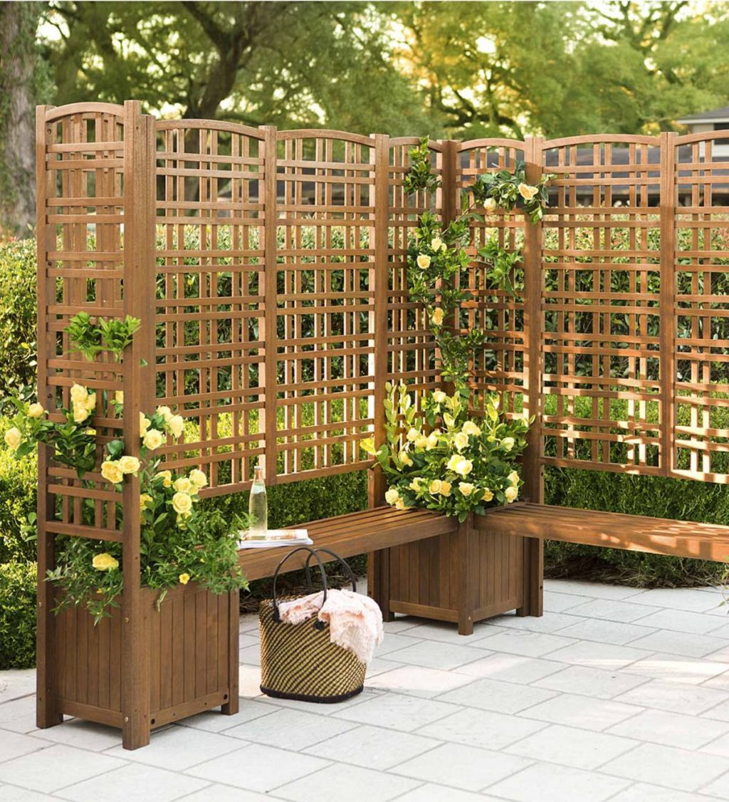 Outdoor Eucalyptus Privacy Screen Trellises And Planters Plowhearth