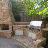 Outdoor Fireplace And Pizza Oven Bathtub Shower Combination Country