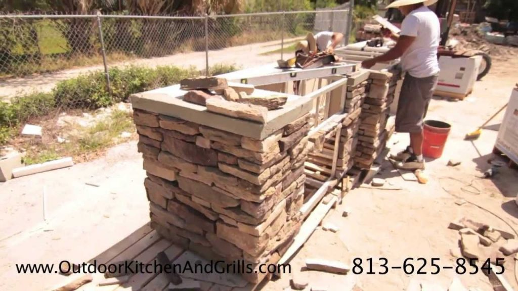 Outdoor Kitchen With Pizza Oven Cultured Stone Granite Fire Place