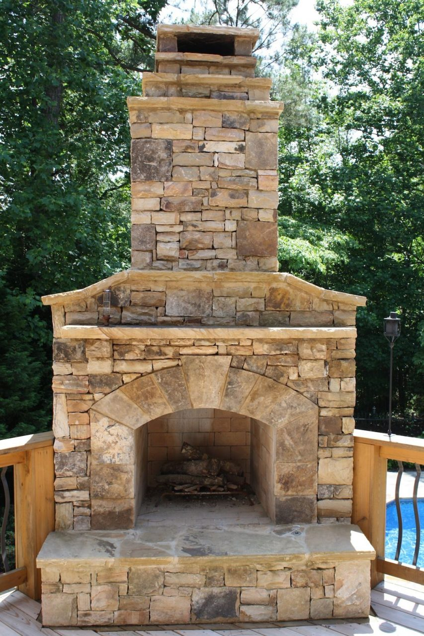 Outdoor Stone Fireplace On Wood Deck Pool Heaters Outdoor