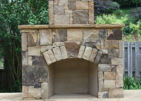 Outdoor Stone Fireplace Design