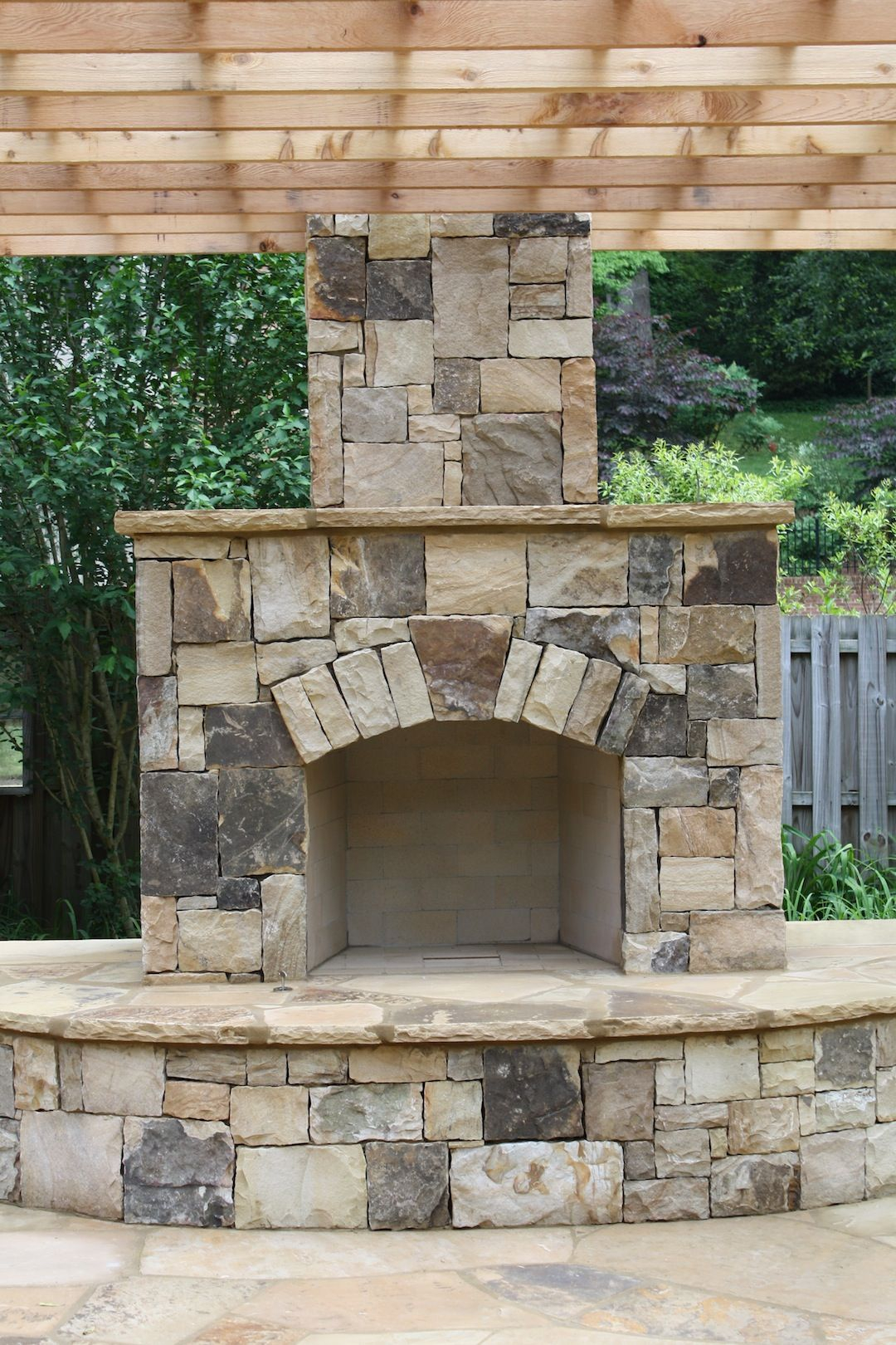 Outdoor Stone Fireplace With Pergola For The Outdoors In 2019