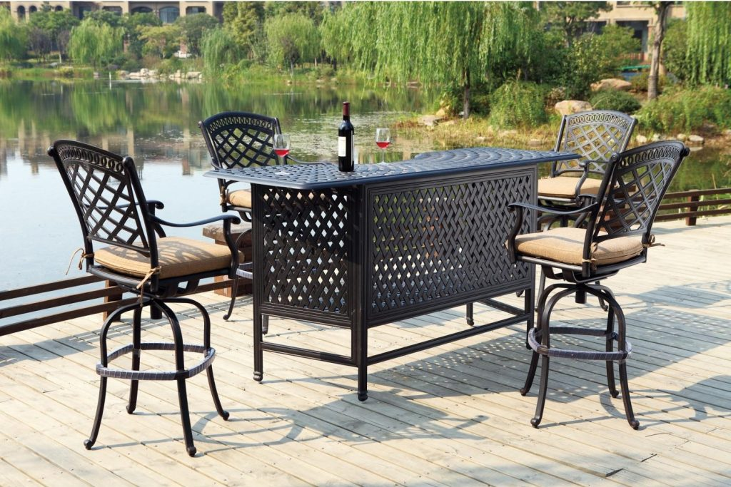 Patio Furniture Party Bar Set Cast Aluminum 82 5pc Pub Sedona