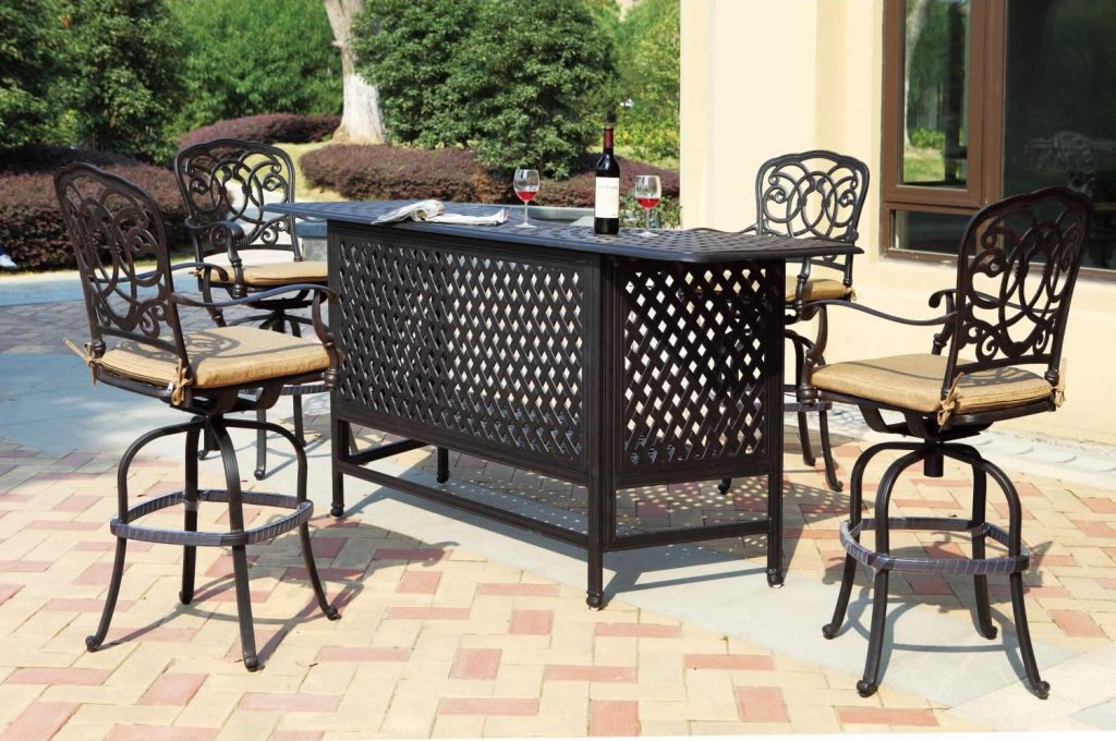 Patio Furniture Party Bar Set Cast Aluminum 82quot 5pc Florence