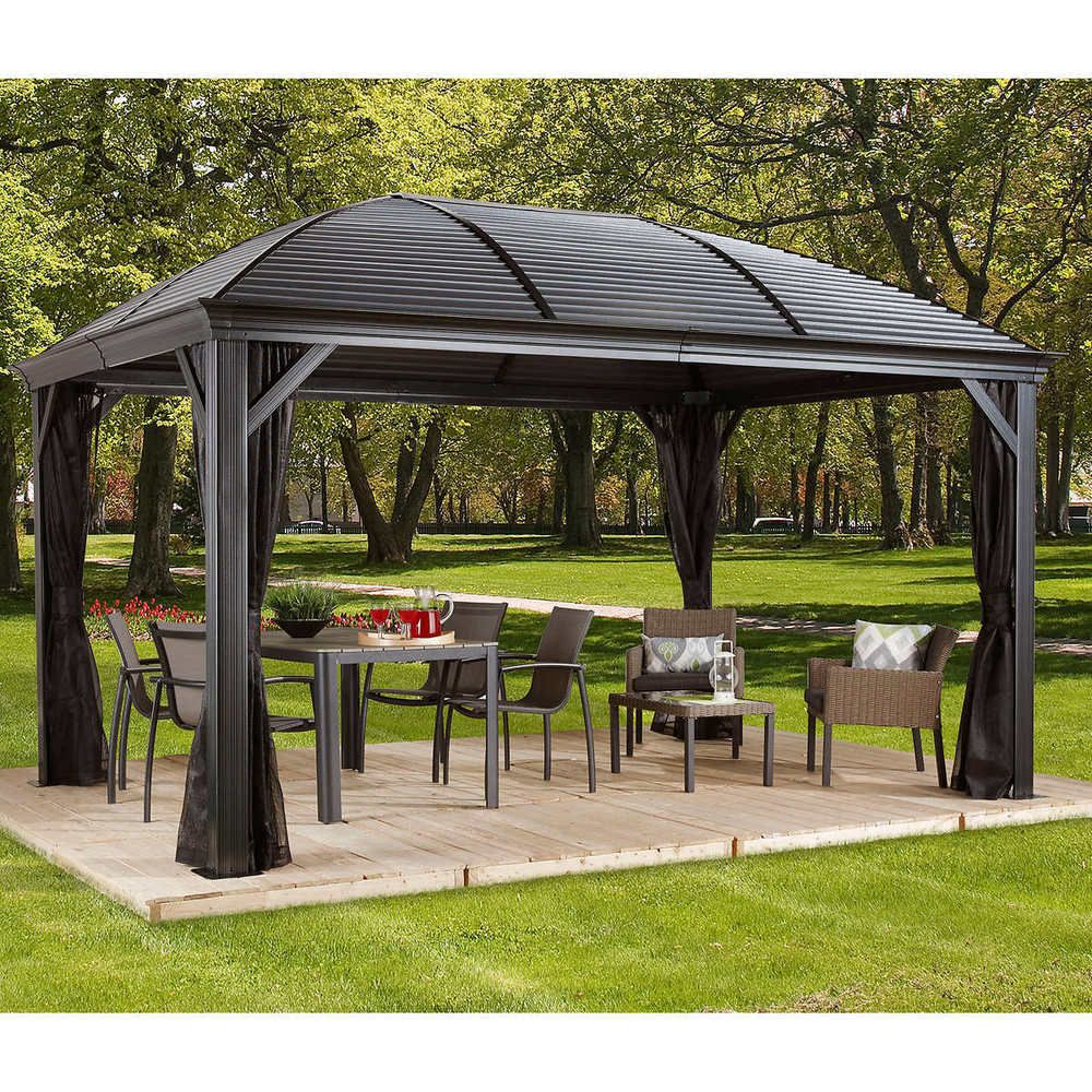 Pergolas And Gazebos Free Standing Kits Outdoor Metal Roof Canopies