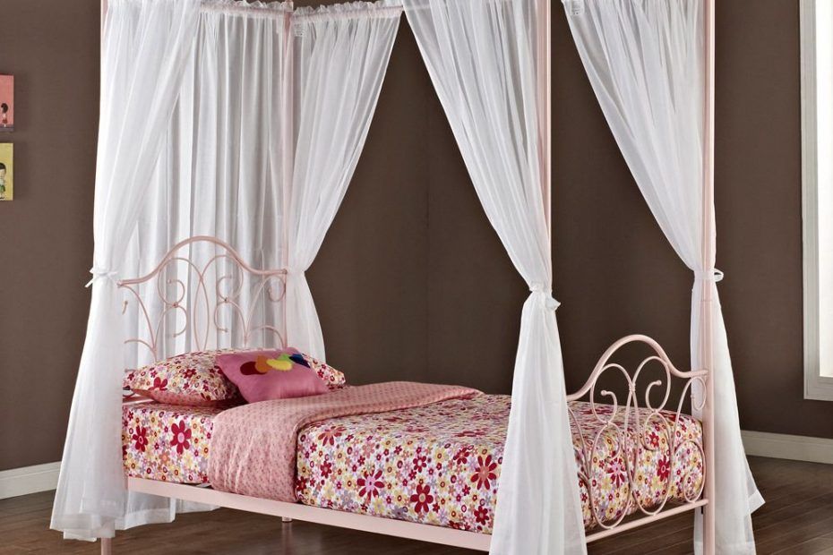 Pink Metal Twin Size Canopy Bed With Curtains In 2019 Stuff