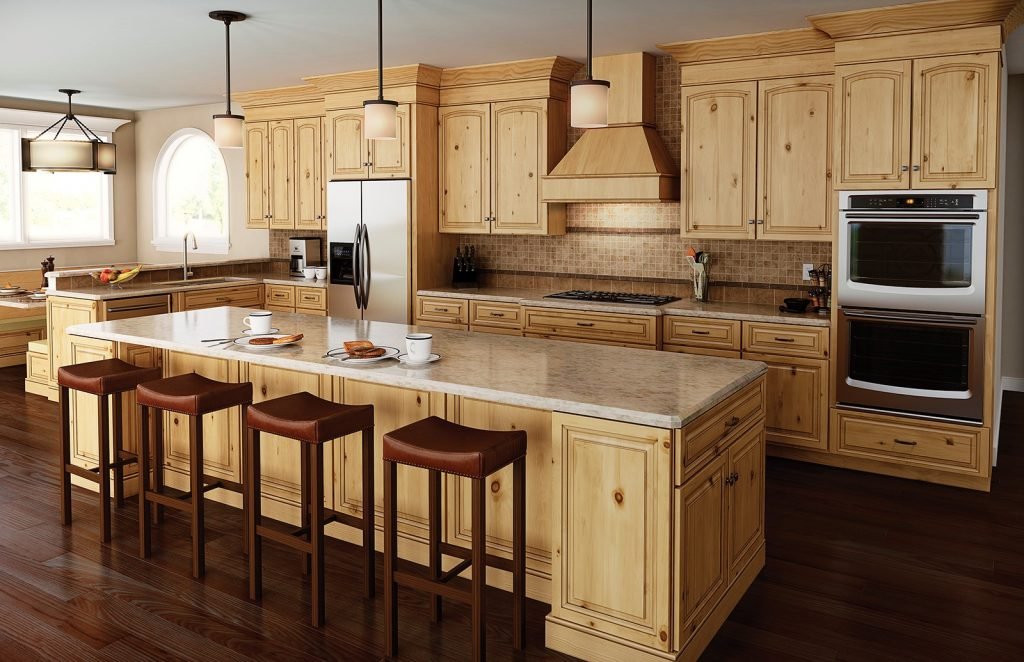Plain Decoration Rustic Alder Kitchen Cabinets Stylish Decoration