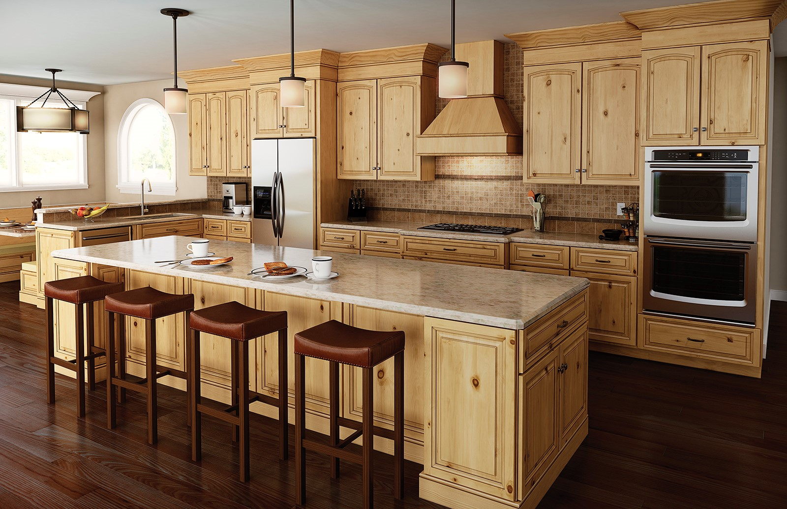 Plain Decoration Rustic Alder Kitchen Cabinets Stylish Decoration Layjao