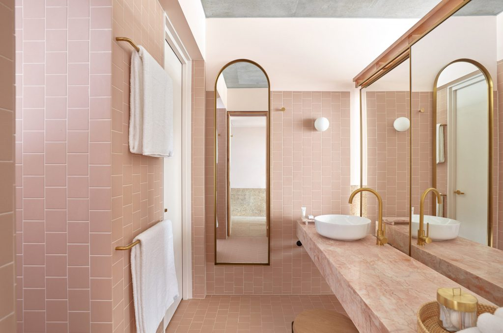 Powder Room 11 Favorite Pink Hued Bathrooms Modern Edition
