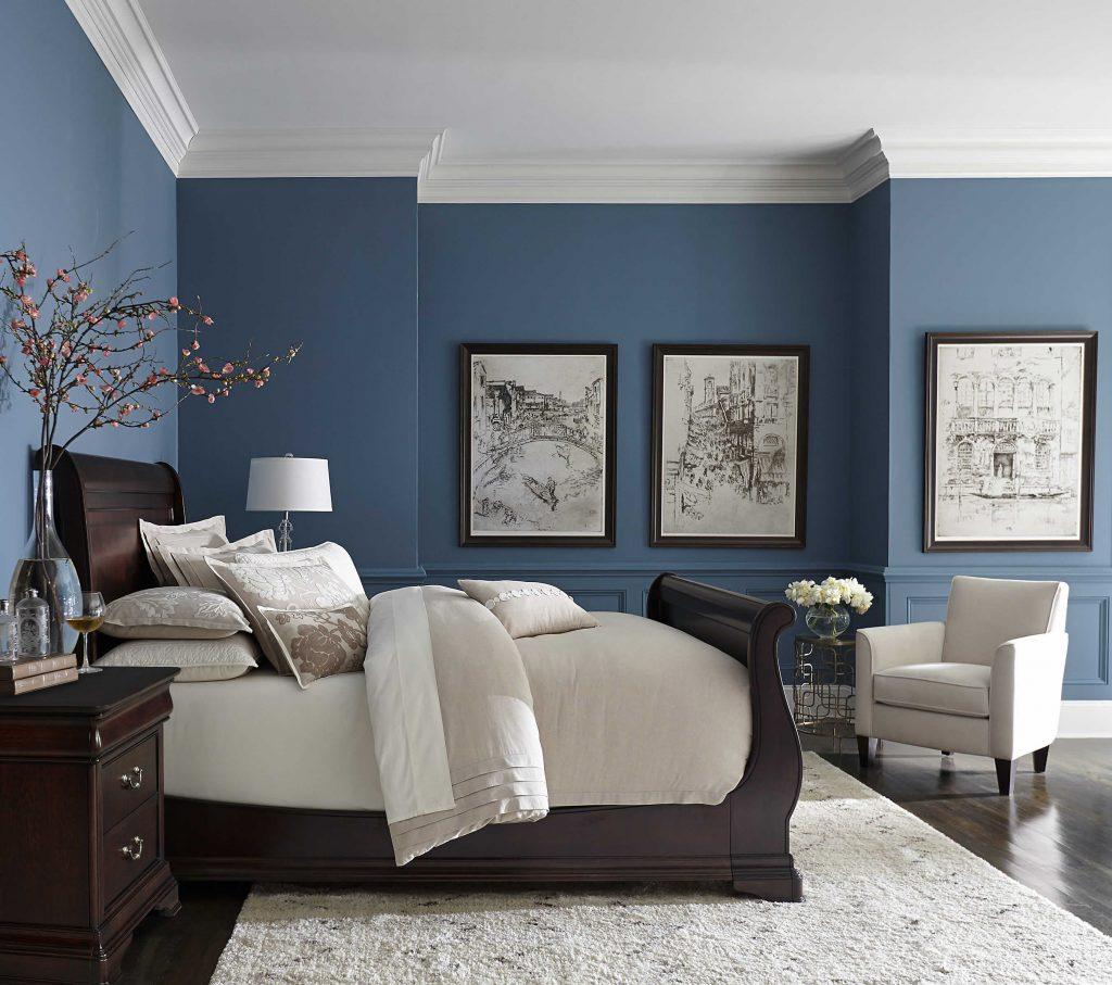 Pretty Blue Color With White Crown Molding Bedrooms In 2019
