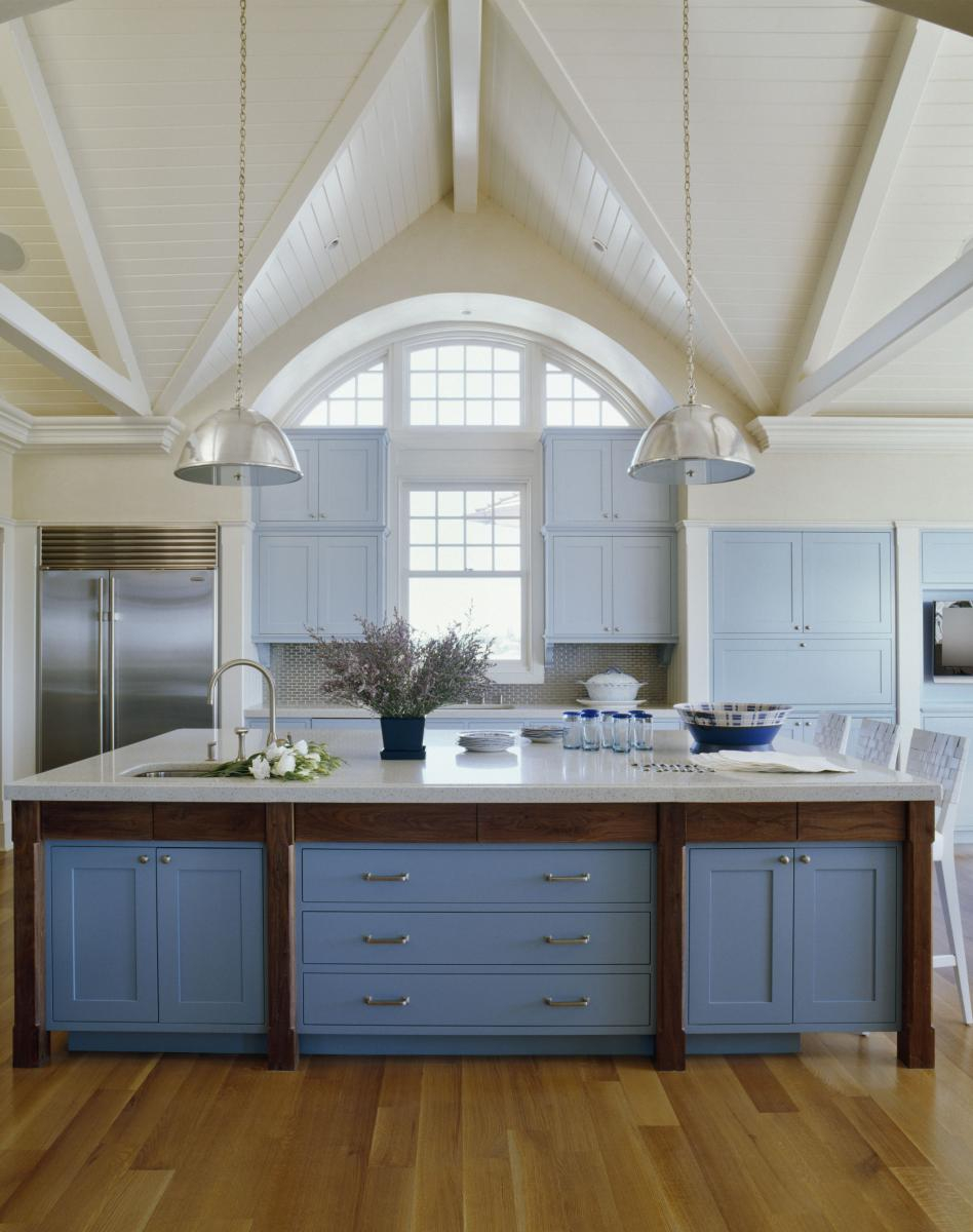 Pretty Blue Kitchen Inspiration With White Vaulted Ceiling Color