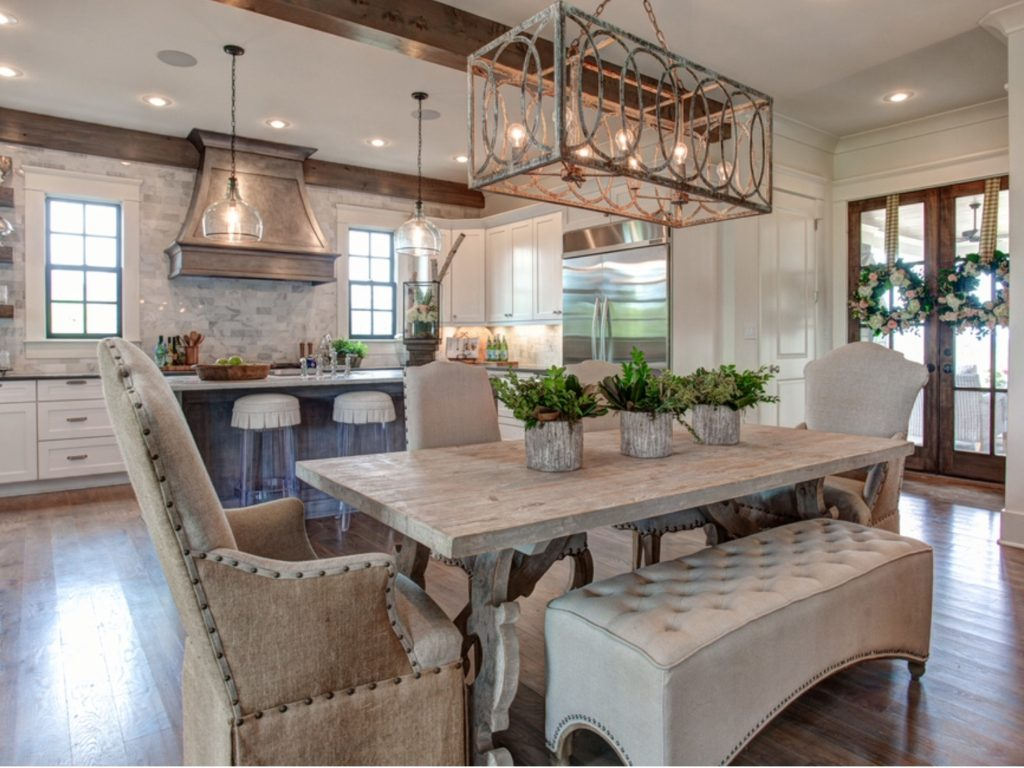 Pretty Kitchen And Dining Room With An Open Floor Plan For The