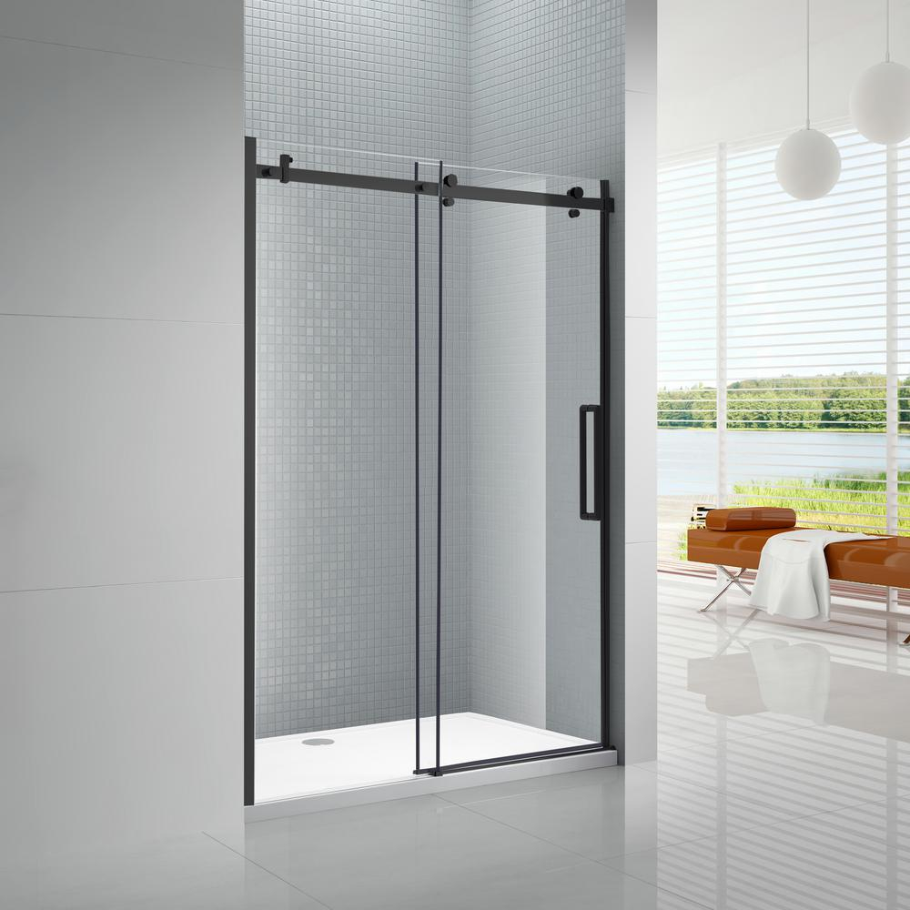 Primo 60 In X 72 In Frameless Sliding Shower Door In Black With 6