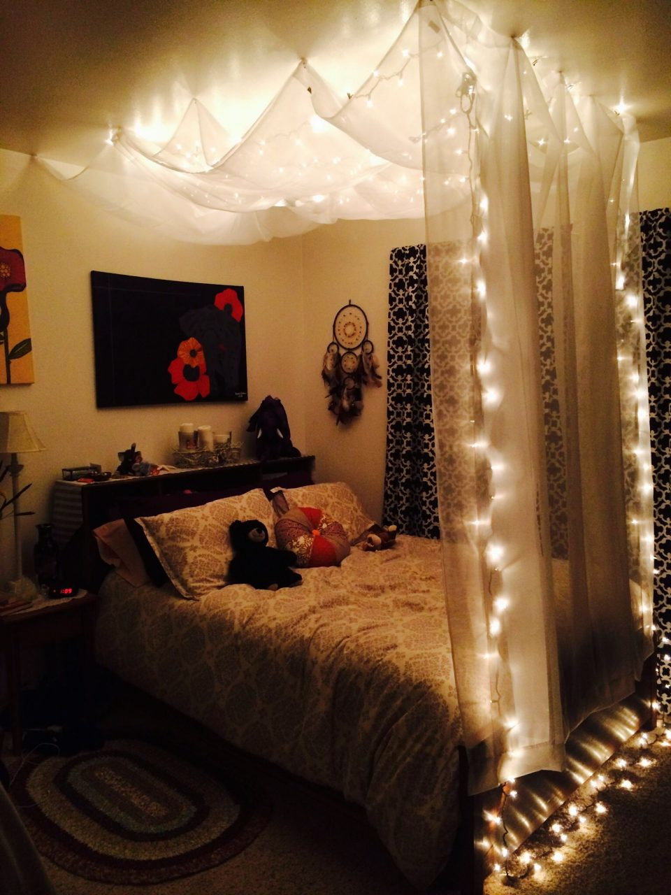 Quarto Luzes Diy Hanging Bed Canopy Using 5 Sheer White