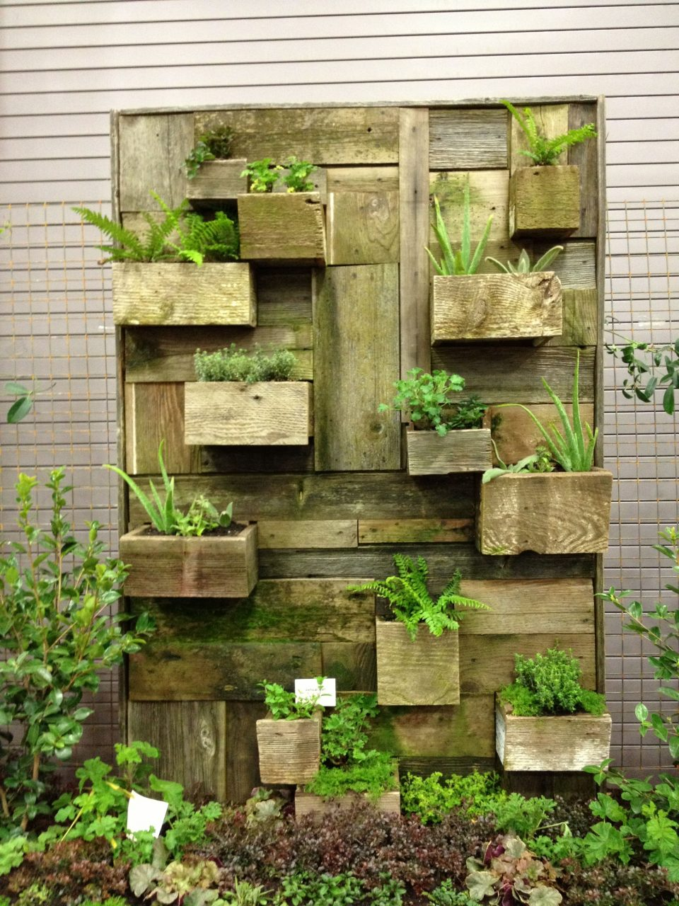 Reclaimed Wood Pallet Vertical Garden Wall Cool Garden Ideas
