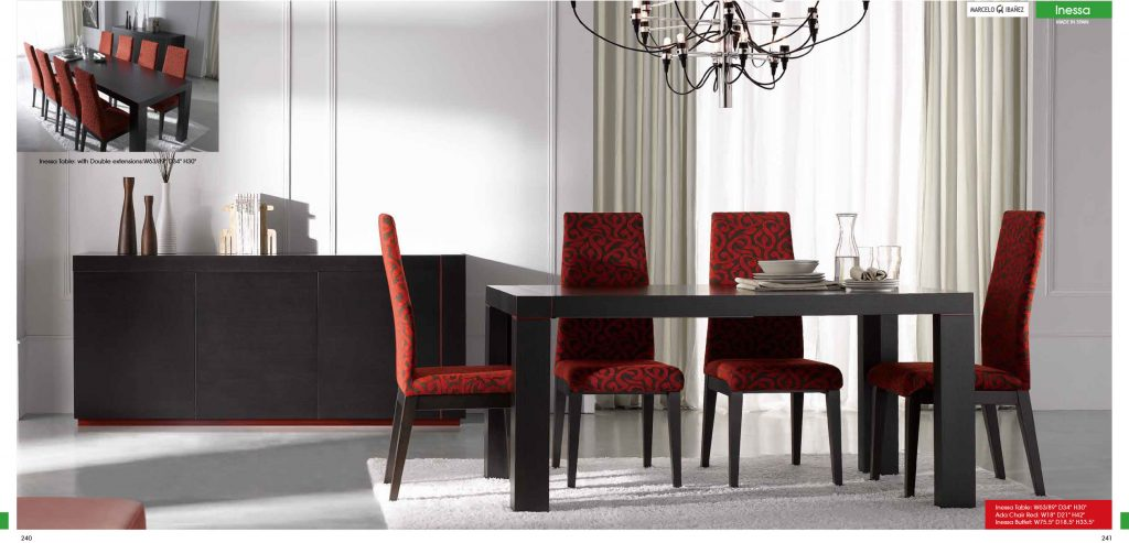 Red Velvet Dining Chairs And Black Wooden Table Having Black Wooden