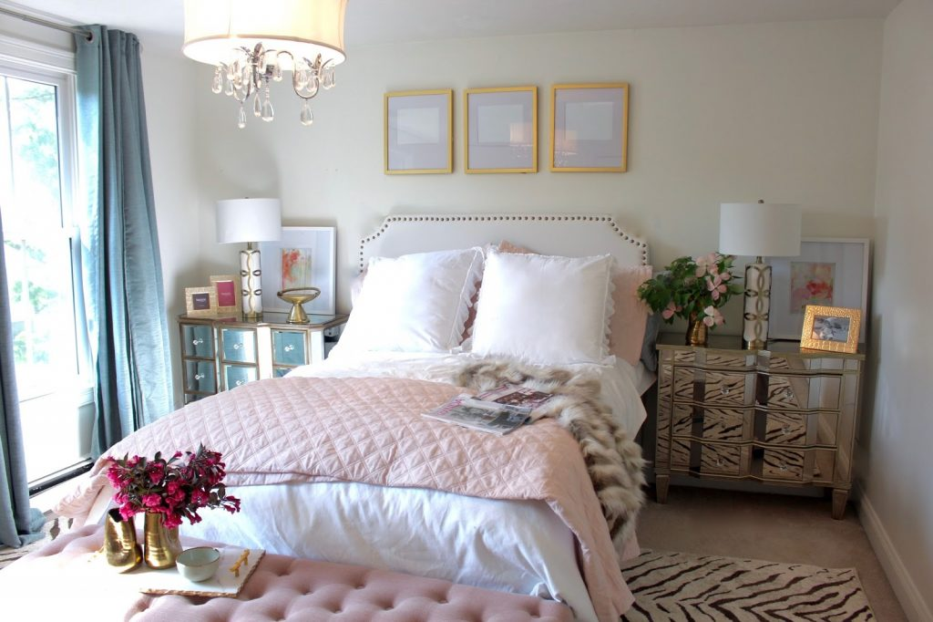 Room Reveal Pink And Gold Feminine Bedroom My Guest Room With