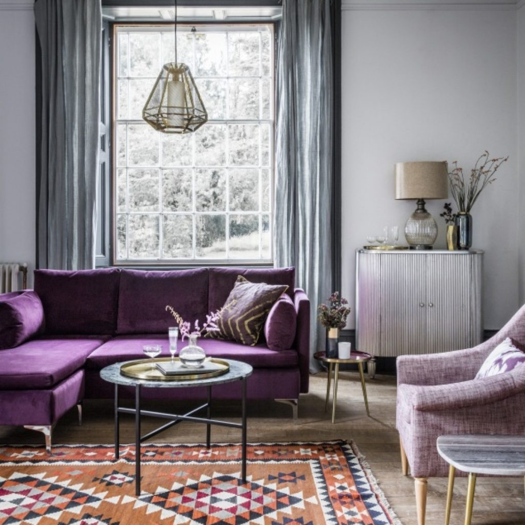 Room Reveal Purple And Grey Living Room Sophie Robinson