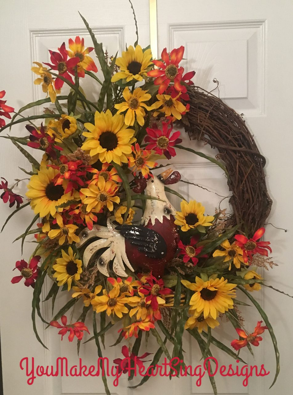 Rooster Wreath Country Wreath Fall Wreath Autumn Grapevine Wreath