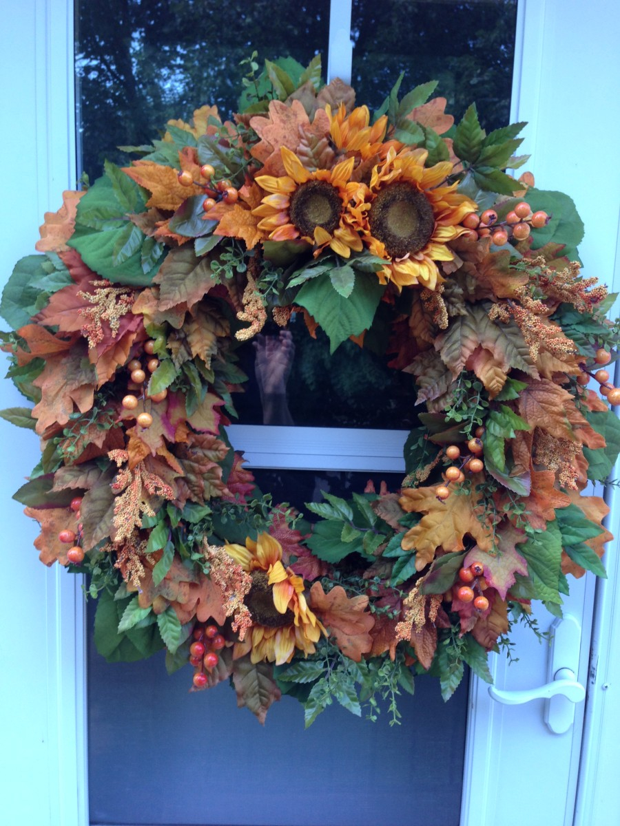 Rust Sunflower With Green Leaves Fall Wreath Wreaths Julie