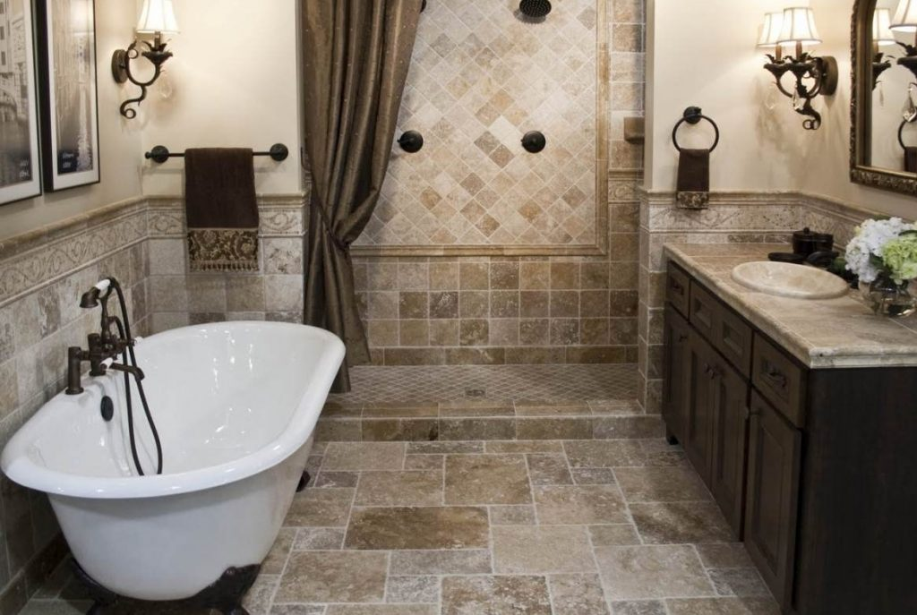 Rustic Bathroom Tile Design Ideas White Porcelain Toilet White