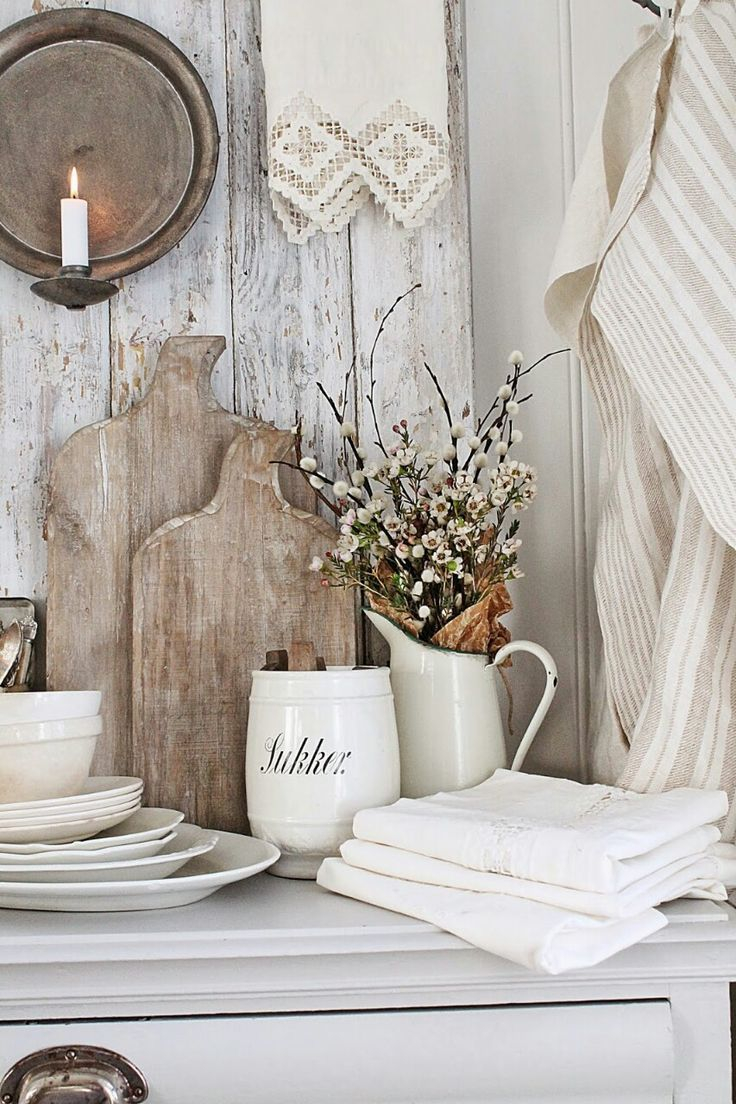 Rustic French Farmhouse Country Home Decor Upon The Shelf