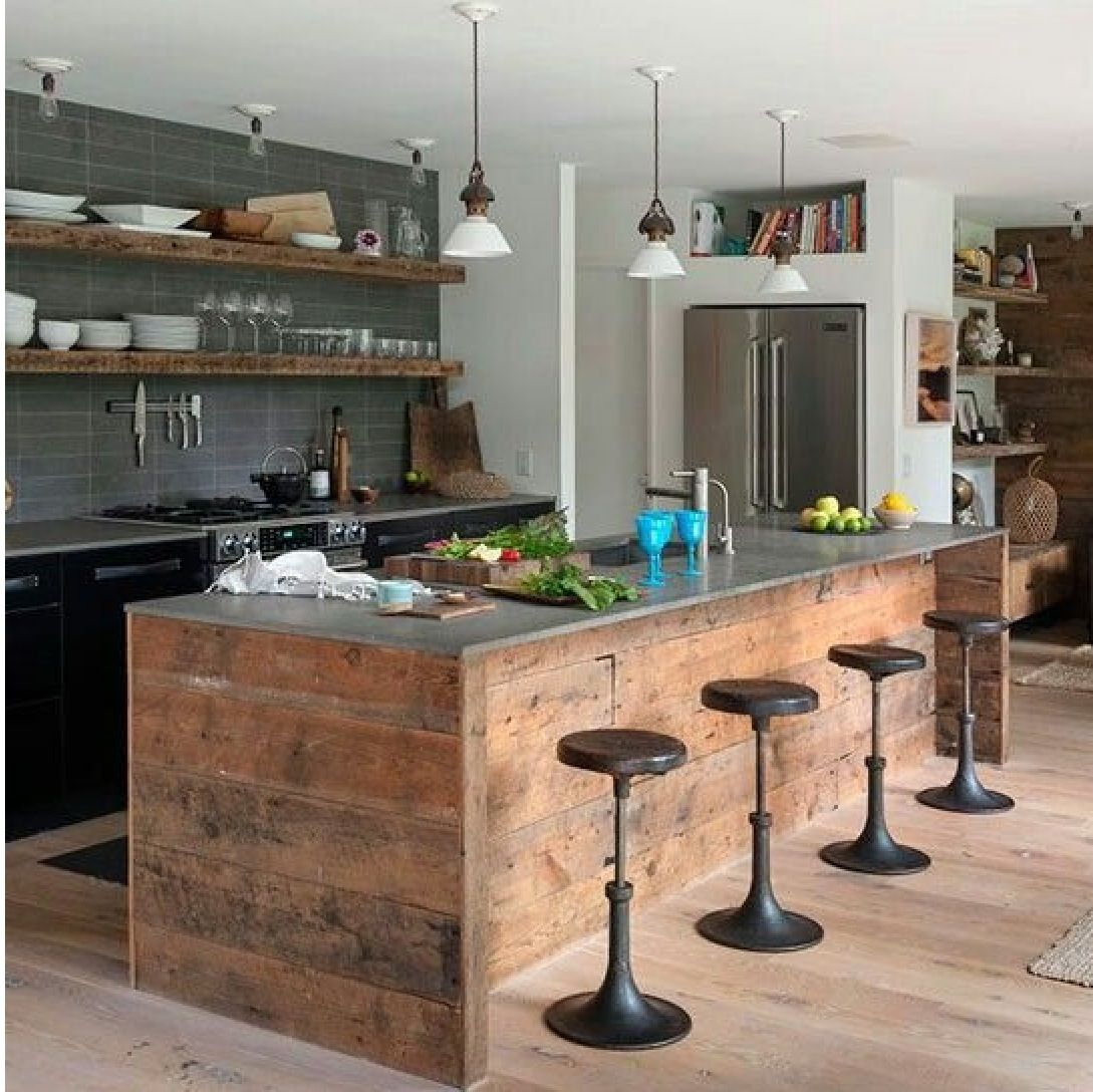 Rusticmodernindustrial Kitchen With Kitchen Island Diseo