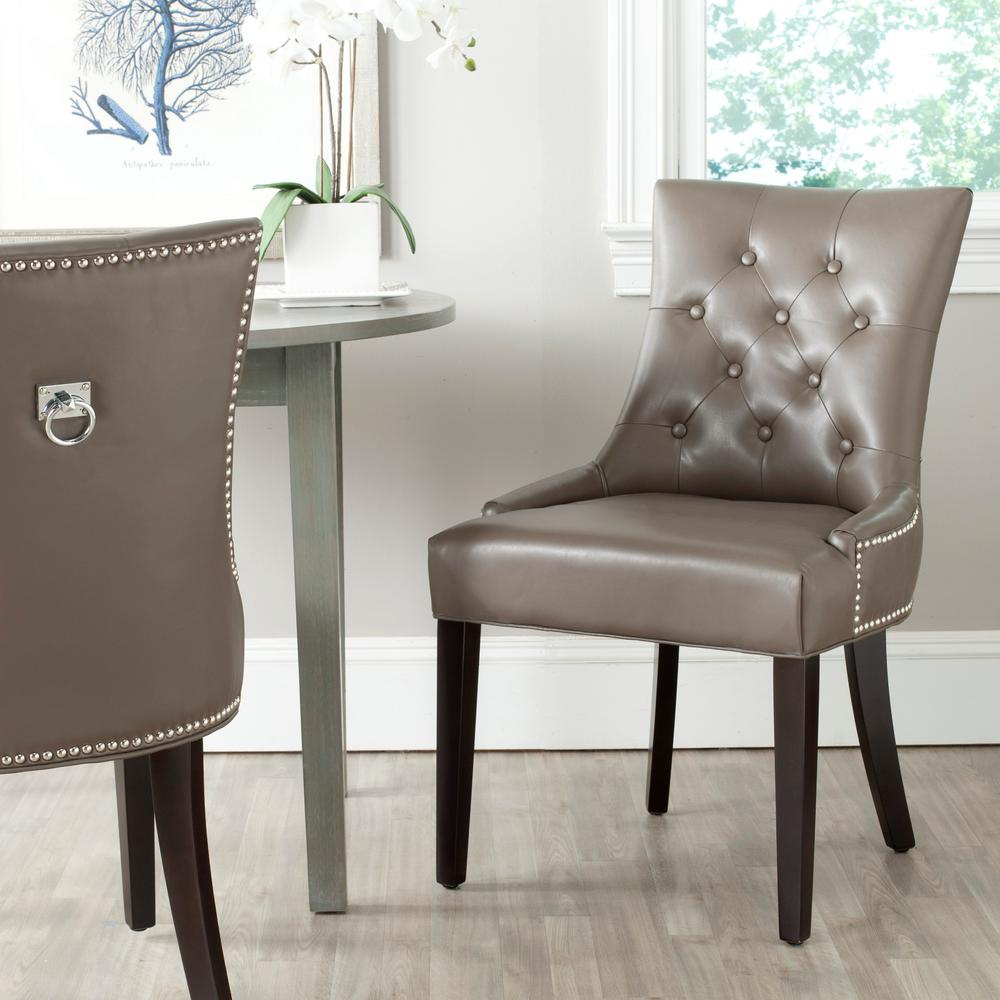 Safavieh Harlow Clayespresso Bicast Leather Side Chair Set Of 2