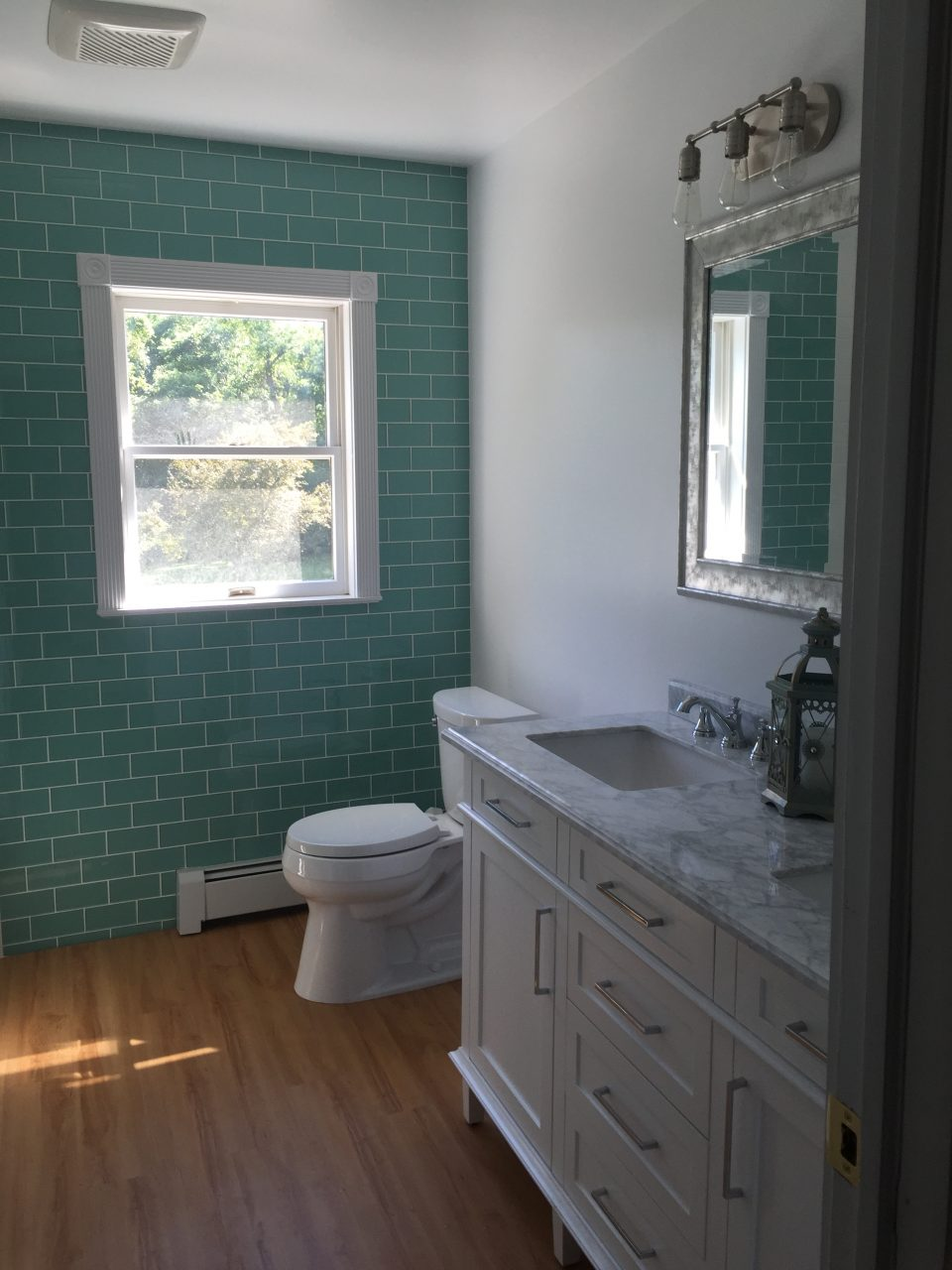 Sage Green Glass Subway Tile Bathroom Feature Wall Tilehub
