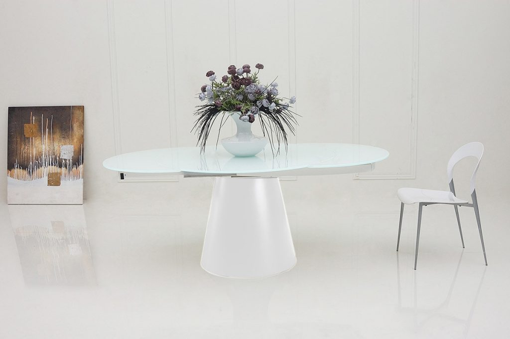 Savor Modern Round Extendable White Dining Table