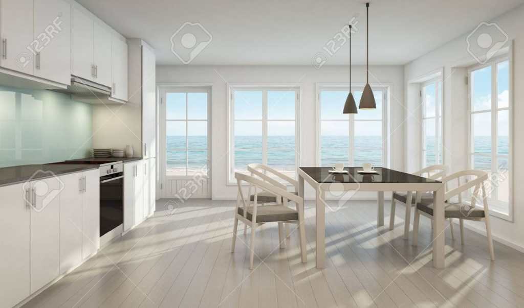 Sea View Dining Room And Kitchen In Beach House 3d Rendering Stock