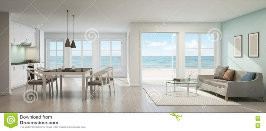 Sea View Living Room Dining Room And Kitchen Beach House Stock
