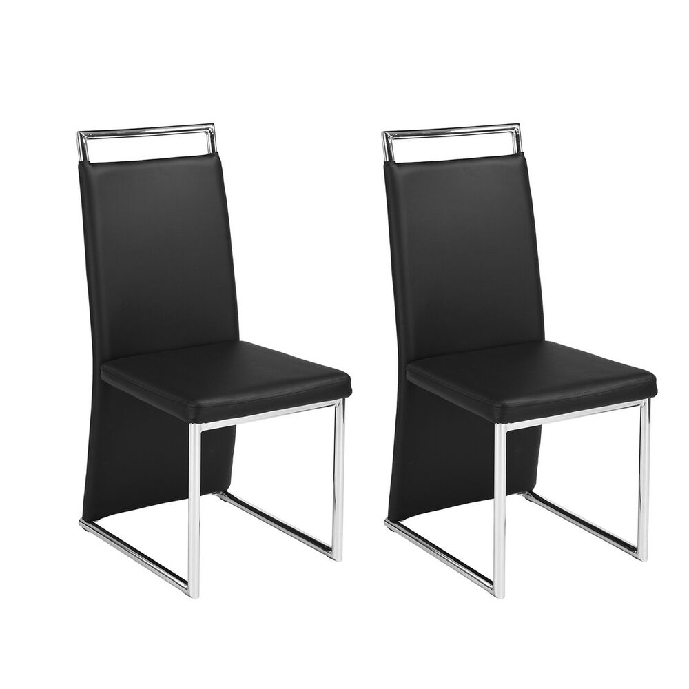 Set Of 2 Faux Leather Dining Side Chair With Chrome Steel Tube Legs