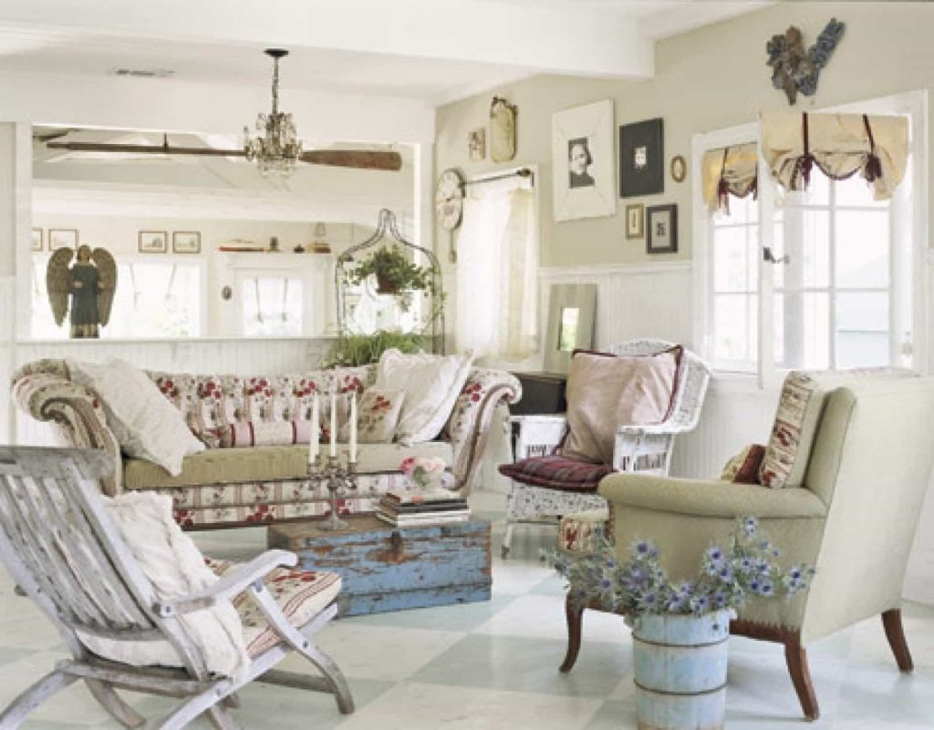 Shab Chic Living Room With Distressed Trunk As Coffee Table And