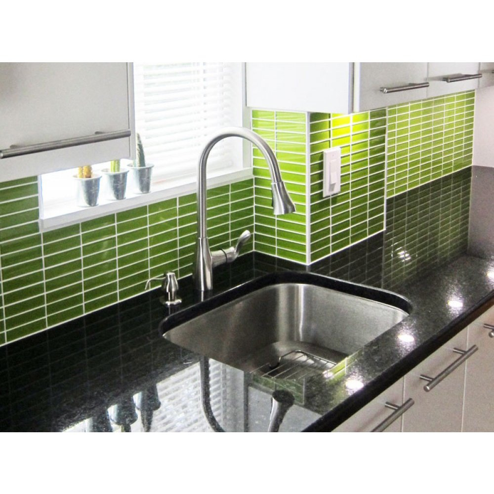 Shop Lush 1x4 Lemongrass Green Glass Subway Tile Free Shipping