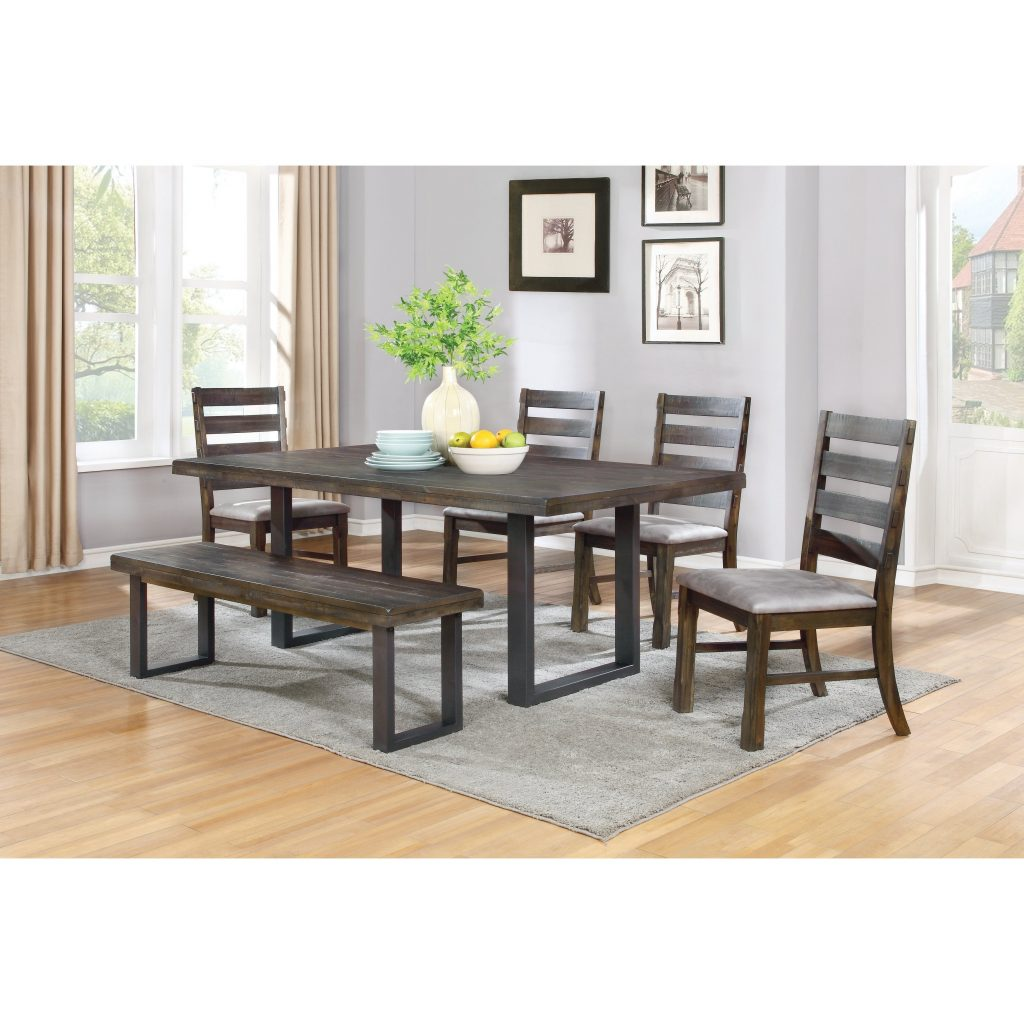 Shop Murphy Rustic 6 Piece Metal And Wood Dining Set With Bench
