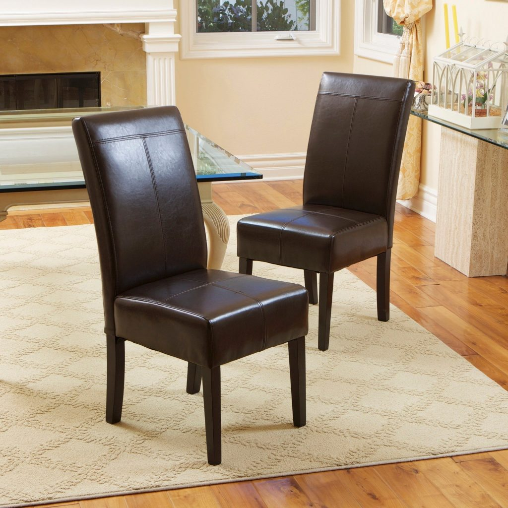 Shop T Stitch Chocolate Brown Leather Dining Chairs Set Of 2