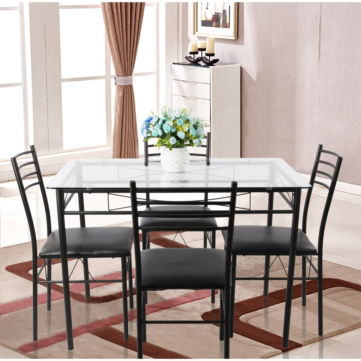 Shop Vecelo Glass Dining Table Sets With 4 Chairs Kitchen Table Sets