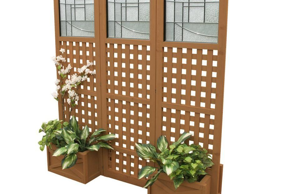 Shop Yardistry Ym11615 Faux Glass Privacy Screen With Planter Boxes
