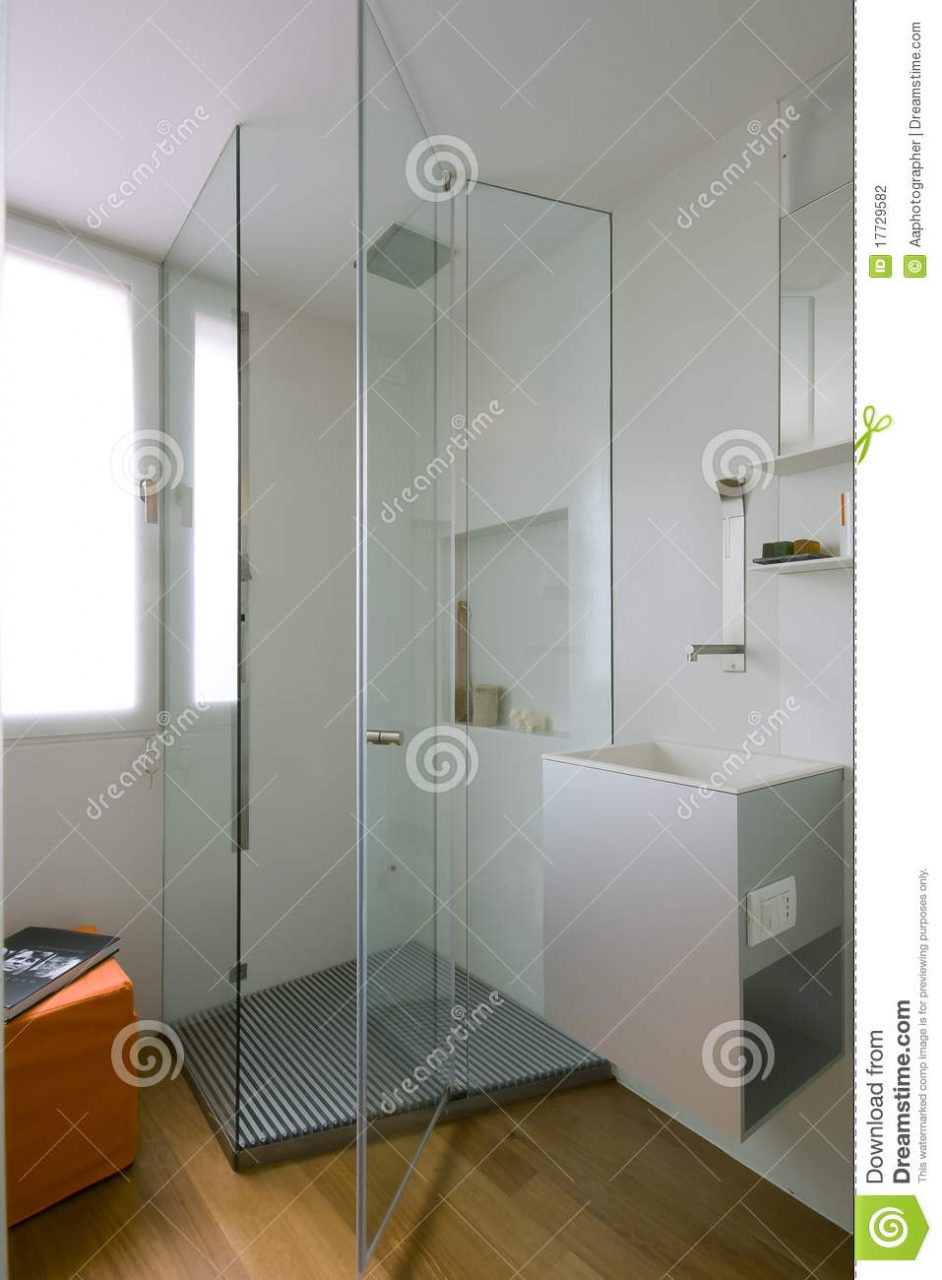 Shower Cubicle With Glass Partition Stock Photo Image Of Washbasin