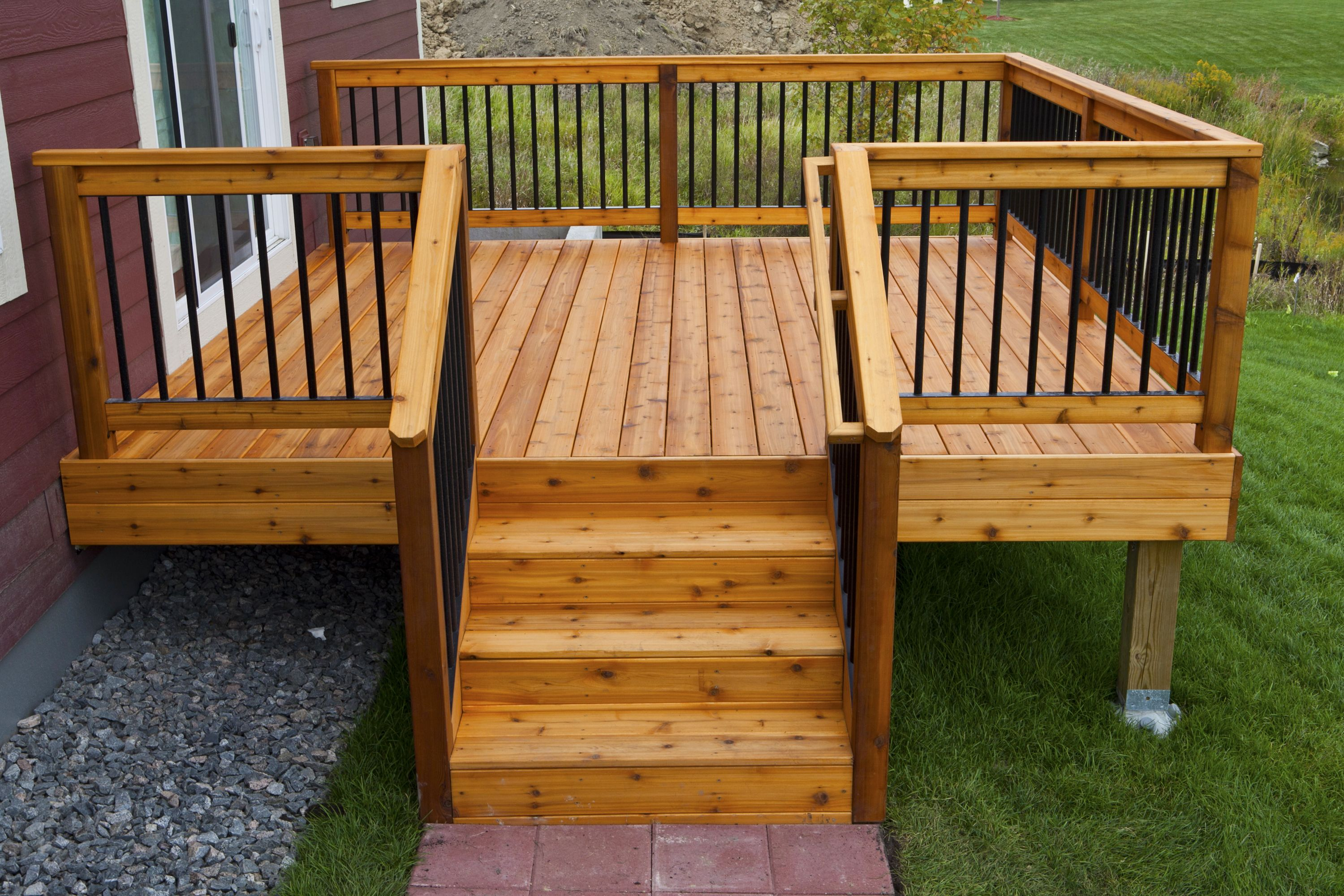 Simple Relatively Inexpensive Cedar Deck With Aluminum Hybrid Rails
