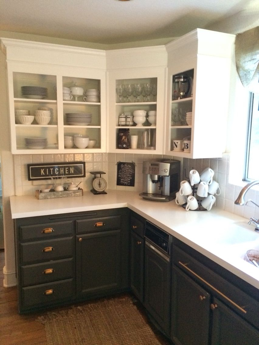 Simply White Upper Cabinets Urbane Bronze Lowers With Antique Brass