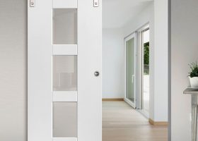 Bathrooms with Clear Glass Interior Doors