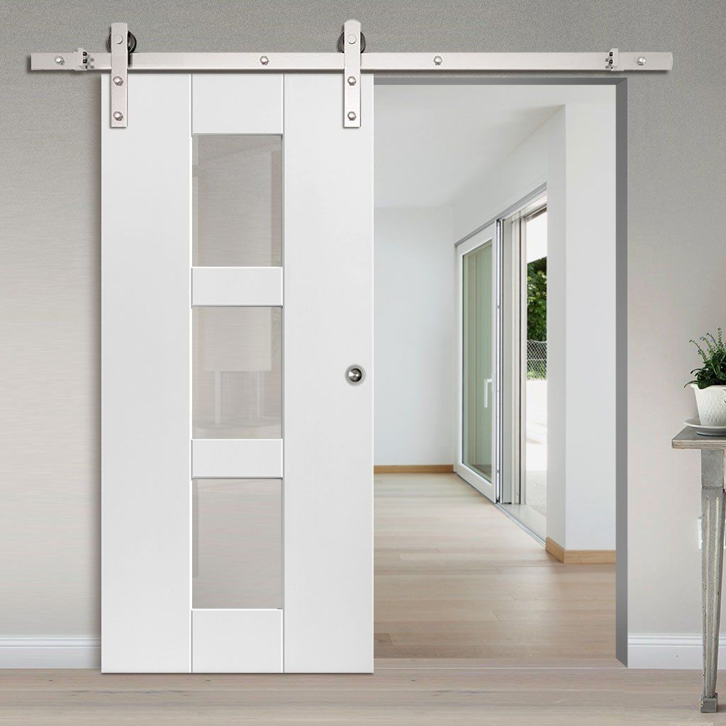 Single Sliding Door Track Geo White Door Clear Glass In 2019
