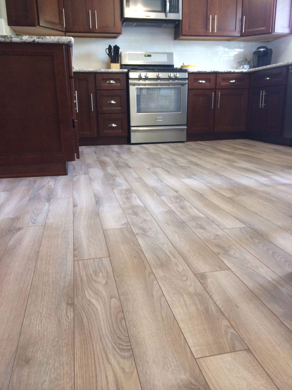 Small Kitchen Design With Cherry Wood Cabinets Get Floored