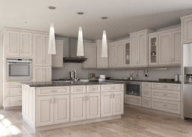 White Kitchen Cabinets with Chocolate Glaze