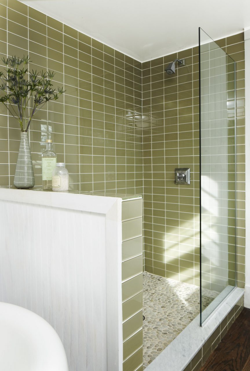 Stone Floor Green Glass Tile Broom House Projects Pinterest