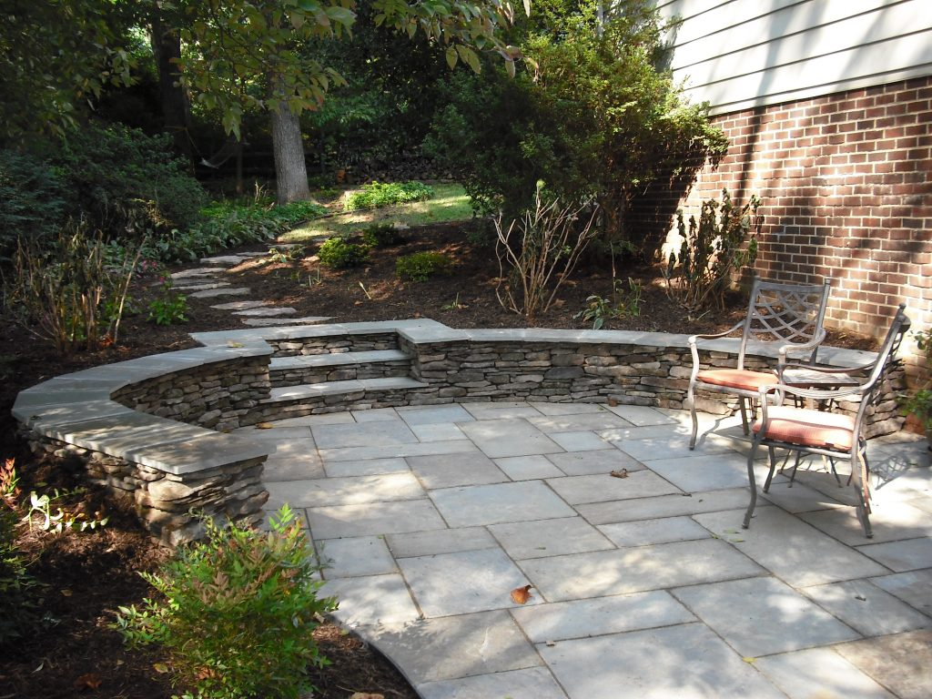 Stone Patio Sitting Wall Steps Copy Grigg Design Seating Walls